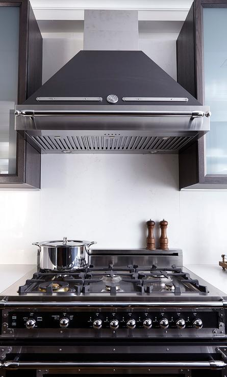 Black Chimney Style Range Hoods ~ Cabinet above range hood design ideas