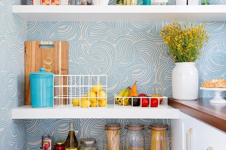 Kitchen Pantry With Blue Swirl Wallpaper Transitional Kitchen
