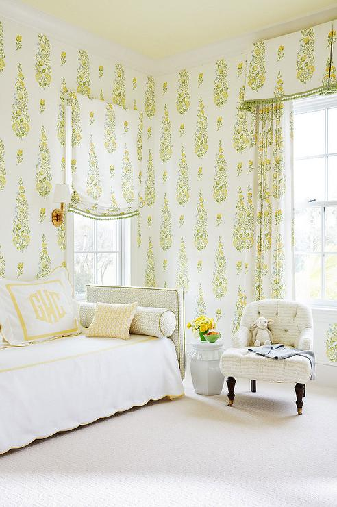 Yellow Bedroom Features A Butter Yellow Painted Ceiling Over A Wall Clad In  Yellow And Green Leaf Print Wallpaper, Galbraith U0026 Paul Persian Garden  Wallpaper ...