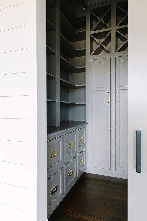 Gray Wine Racks Over Gray Pantry Cabinets Transitional Kitchen