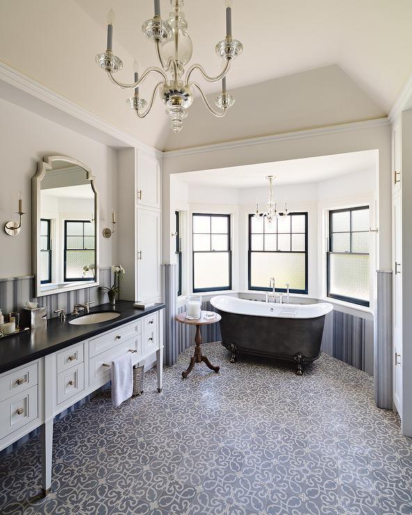 Black Claw Foot Bathtub In Bay Window Transitional