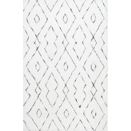 Peraza Hand Tufted Geometric White Area Rug