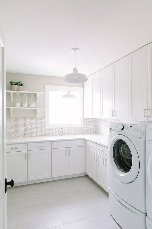 White And Gray Maze Tile Backsplash Transitional Laundry Room