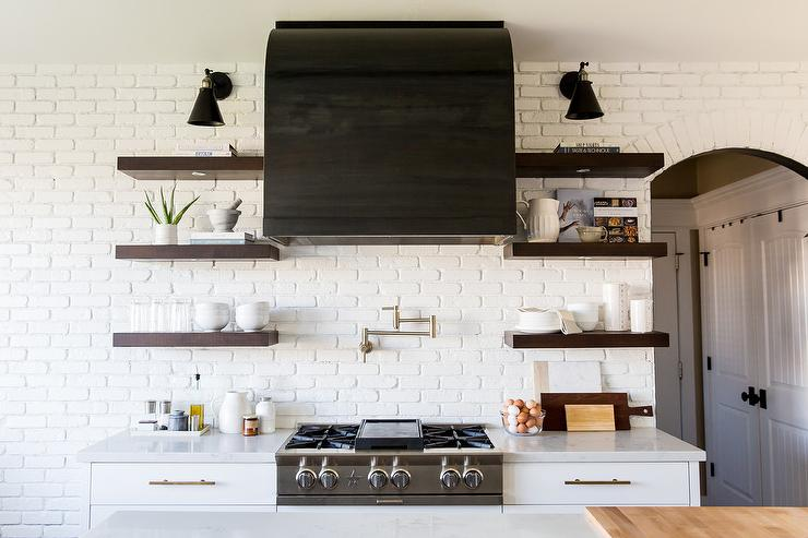Captivating Black Vent Hood On White Brick Kitchen Wall