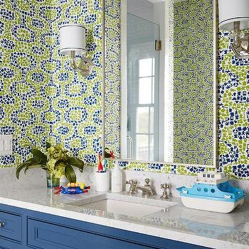 Green and blue kid bathroom color scheme