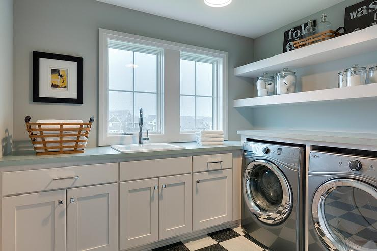 Long Floating Shelves Over Washer And Dryer Transitional