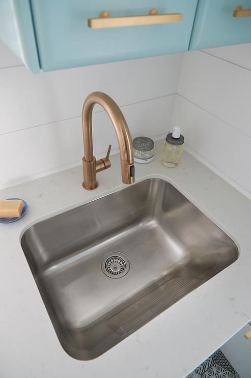 Best Faucet For Laundry Room Sink : Laundry Room Sink with Gold Gooseneck Faucet - Contemporary - Laundry ...