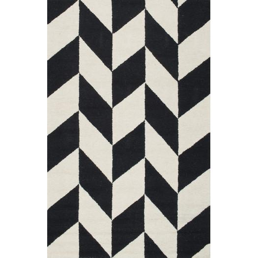 Rummel Hand Tufted Black White Indoor Area Rug