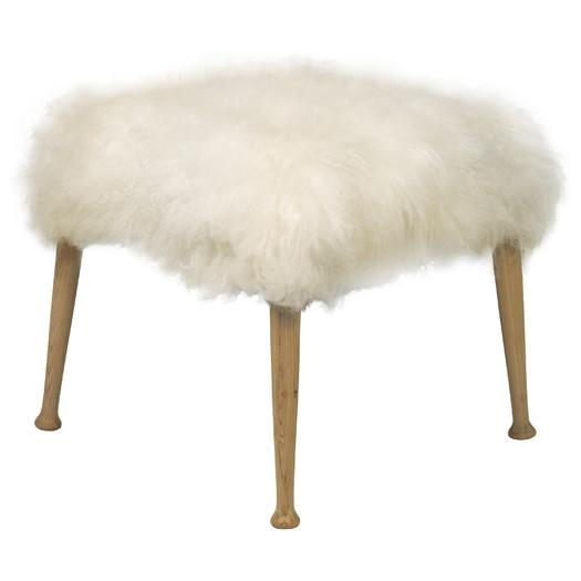 White Luxe Fur Stool