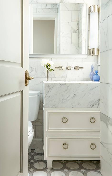 Bathroom Vanity Pulls wood and marble bath vanity with ring pulls - transitional - bathroom