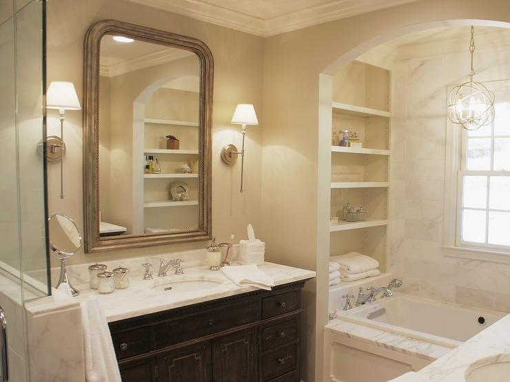 Arch Bathtub Alcove With Modular Shelves Traditional