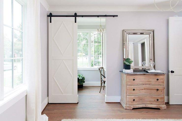 Home office barn door with diamond trim transitional for Barn doors for home office