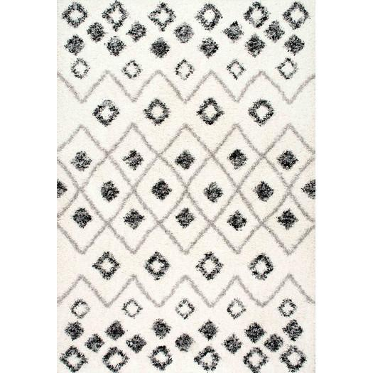 Geometric Black White Quatrefoil Pattern Rug