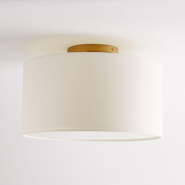 White Gray Drum Flush Mount Light Pottery Barn Kids