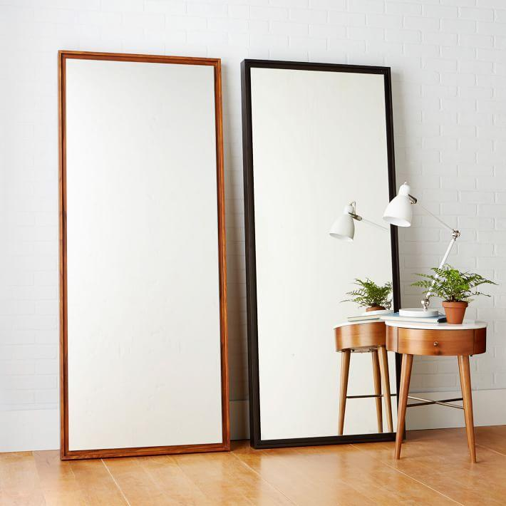 Floating wood floor mirror for Long thin decorative mirrors