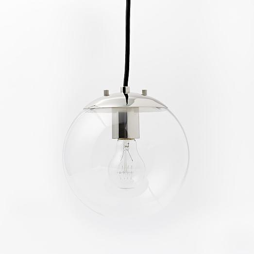 & Clear Globe Single Light Pendant
