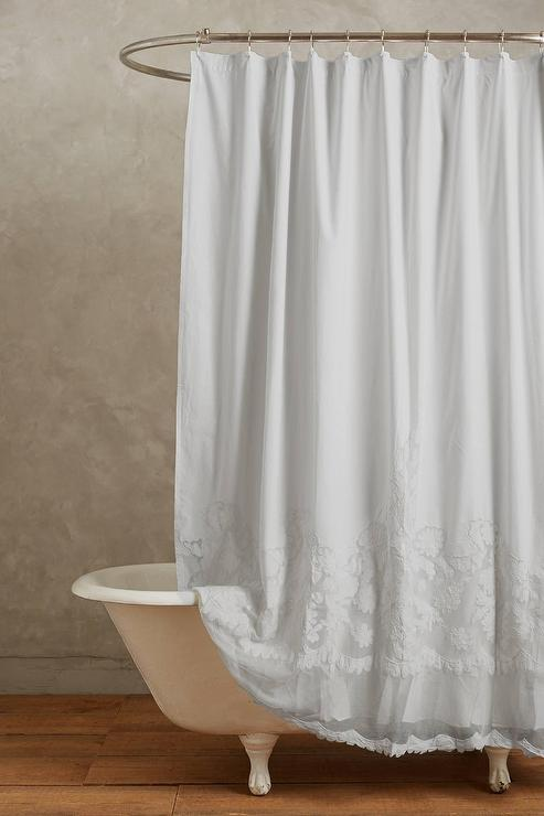 Caprice White Cotton Shower Curtain