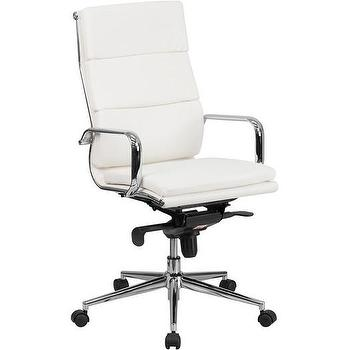 white leather swivel desk chair - Rolling Chair