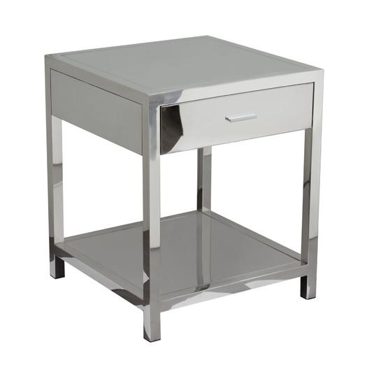 Corleo Single Drawer Mirrored End Table