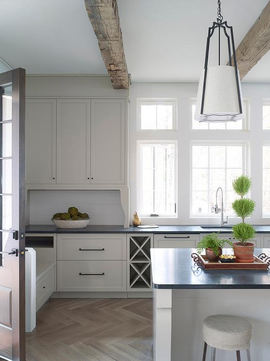 Off White Kitchen Cabinets With Light Gray Wash Herringbone Wood - Light gray wood kitchen cabinets