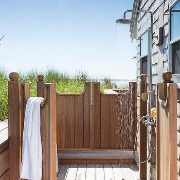 Teak Outdoor Shower With Swinging Privacy Doors
