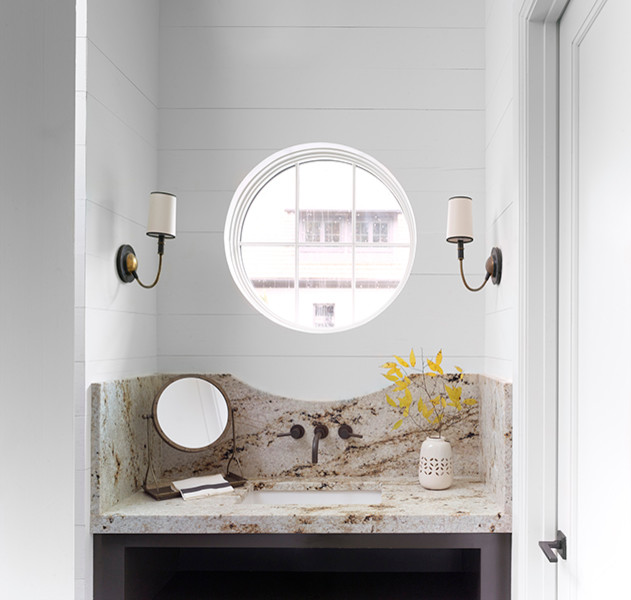 Brown Lovered Vanity With Gray Granite Countertop