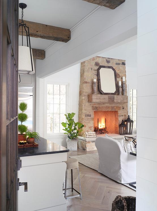 Rustic Fireplace Mantle On Stone Fireplace Transitional