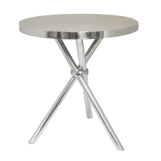 Silver Round Aluminum End Table