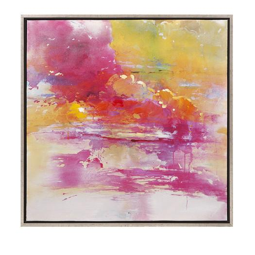 Red//Yellow Abstract Reflection Oil paint Reprint On Framed Canvas Wall art
