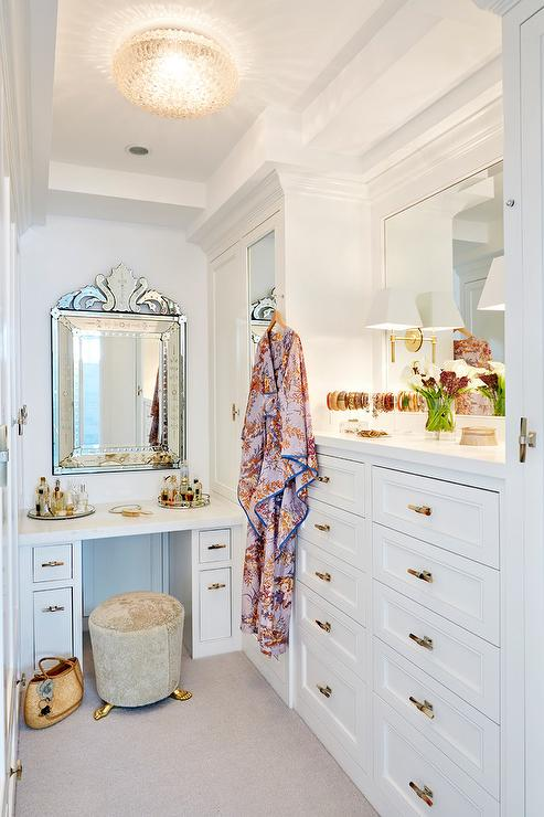 Glam Walk In Closet With Venetian Mirror Transitional