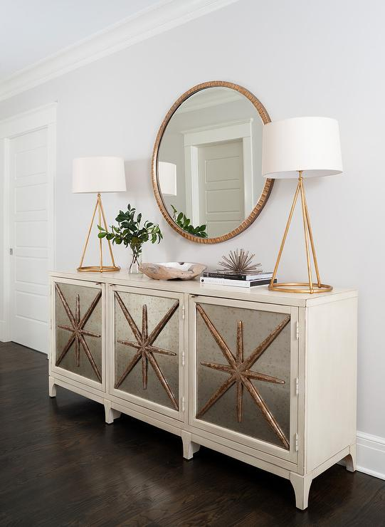 Gold Mirror Over Ivory Mirrored Cabinet View Full Size