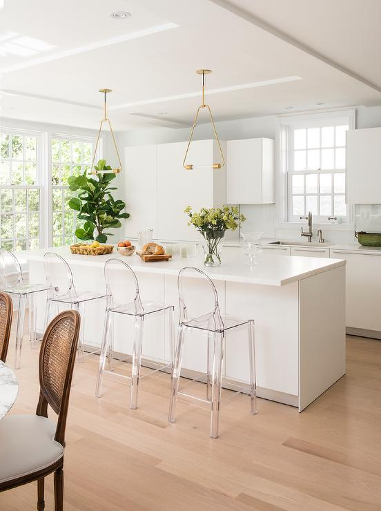Brass Triangle Pendant Lights Over Kitchen Island Transitional Kitchen