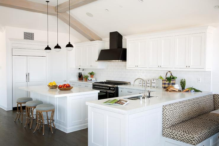 White Kitchen With Black Stove And Hood Transitional