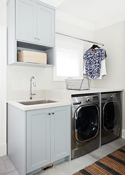 Green Gray Laundry Cabinets Transitional Laundry Room