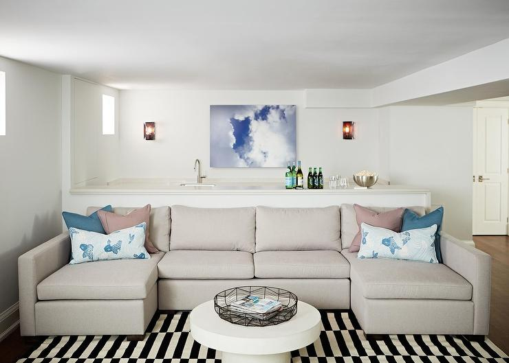 Light Gray Sofa with Two Chaise Lounges Transitional Basement