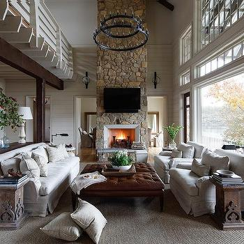 two storay country living room with 2 tier iron candelabra chandelier - Design Ideas For Living Rooms With Fireplace
