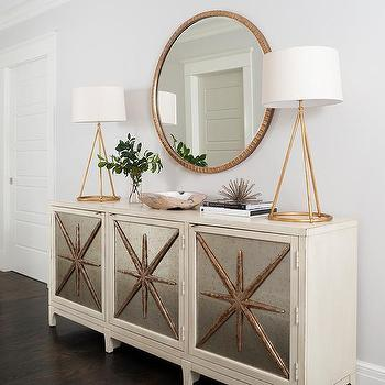 Gold Mirror Over Ivory Mirrored Cabinet