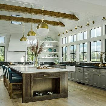 White Shiplap Kitchen Vent Hood With Gray Cabinets