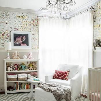 Gray Girl Nursery With Gray French Settee Transitional