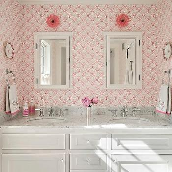 'Kid Bathroom with Pink Wallpaper' from the web at 'https://cdn.decorpad.com/photos/2017/01/26/m_shared-girls-bathroom-pink-wallpaper.jpg'