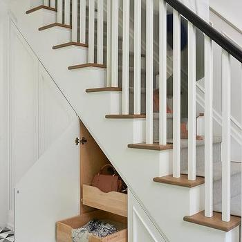 Staircase Wall With Hidden Storage Drawers