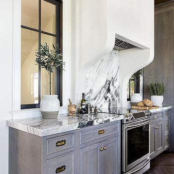 Kitchen Cabinets Design Ideas. Gray Wash Kitchen Cabinets with Vintage Brass Pulls Dark Design Ideas