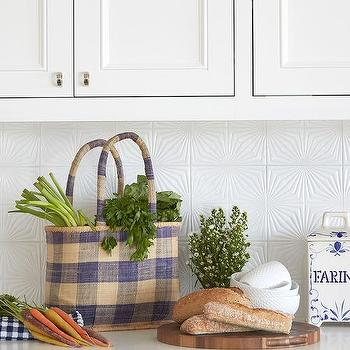 White Textured Kitchen Backsplash Tiles Design Ideas
