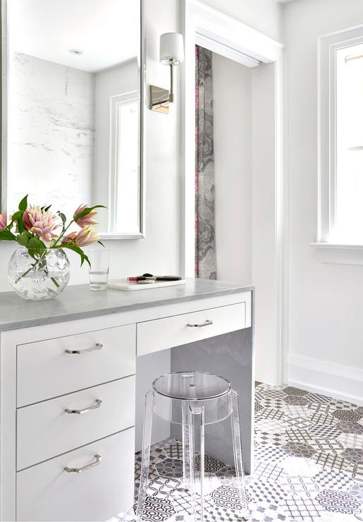 White Makeup Vanity With Gray Waterfall Countertop