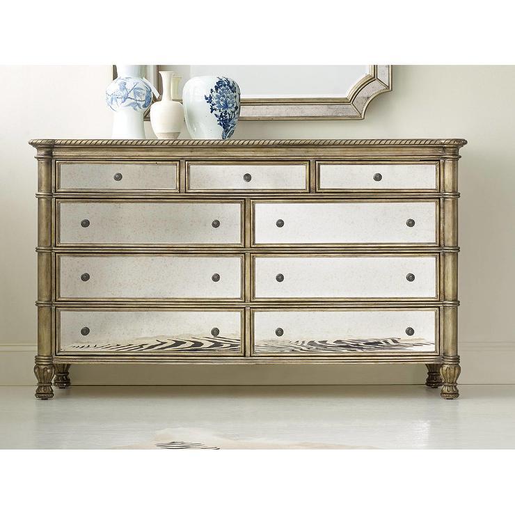 Melange Montage Gold Mirrored Drawer Dresser