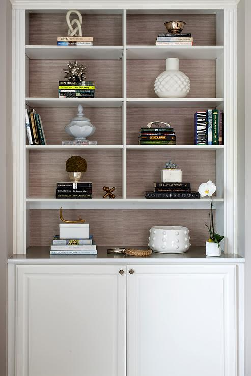 Styled Living Room Shelves With Gold Accents