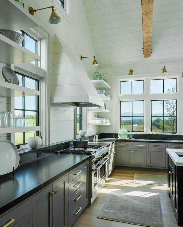 White Kitchen Vent Hood white shiplap kitchen vent hood with gray cabinets - transitional