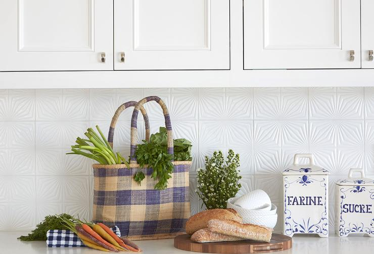 White textured kitchen tiles transitional kitchen for Textured wallpaper backsplash