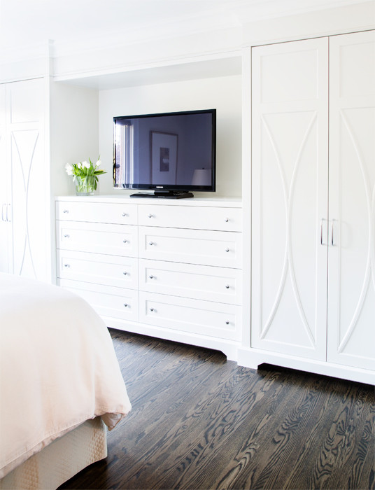 Bedroom built in dresser flanked by wardrobe cabinets transitional closet Master bedroom tv wall unit