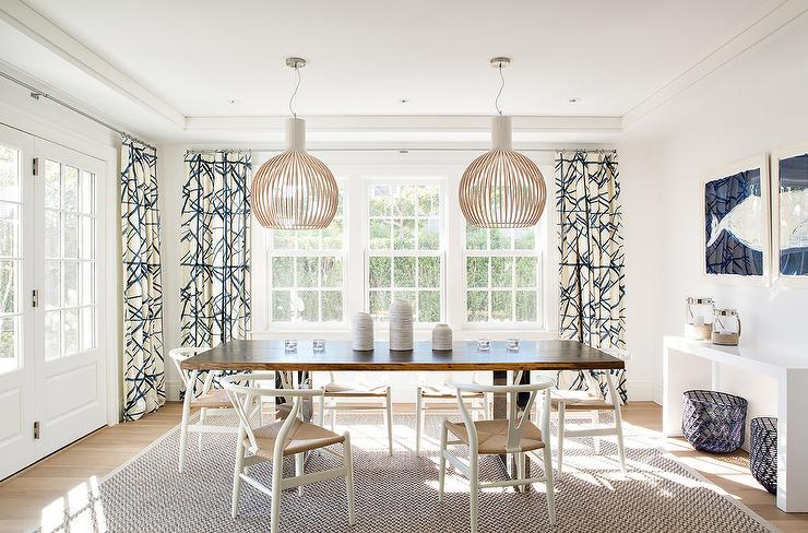 Wood And Chrome Dining Table With White Wishbone Chairs